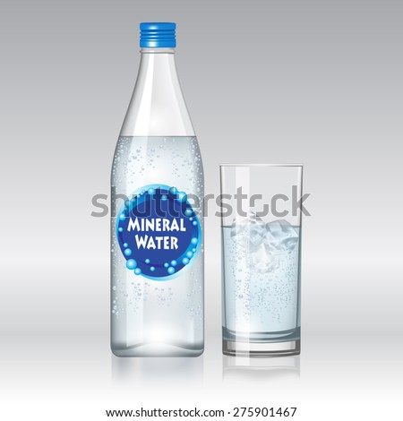 Glass of water and bottle with mineral water isolated on white background. Vector illustration - stock vector