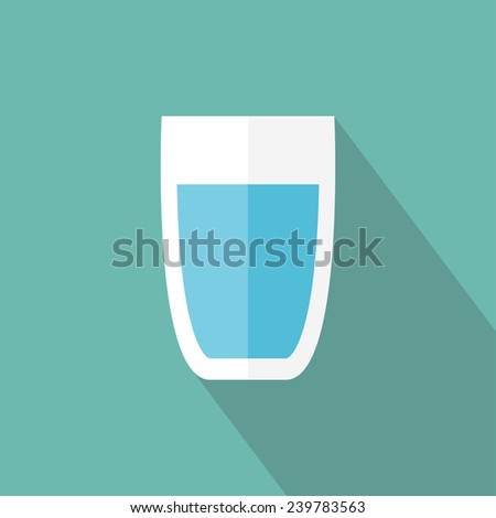 Glass of water icon. Flat icon with long shadow. Vector illustration - stock vector