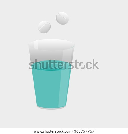 glass of water with a pill relieves pain - stock vector