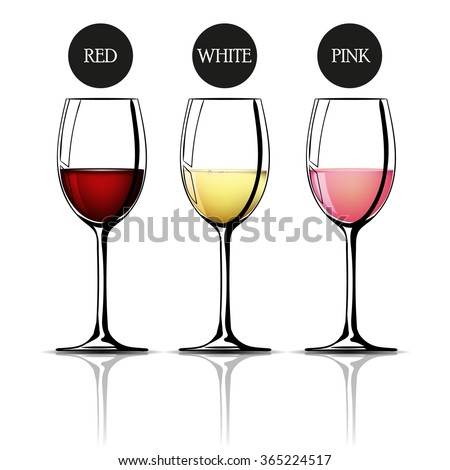 Glass of wine, red, white, pink. Vector - stock vector