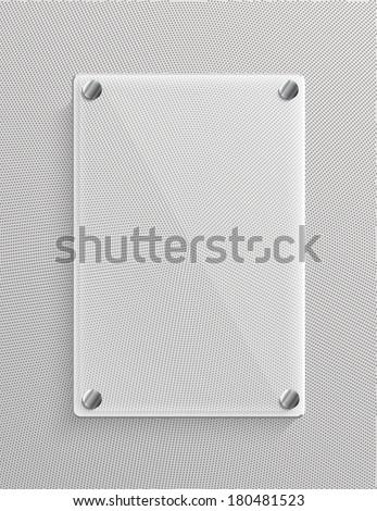 Glass panel on metalic background - stock vector