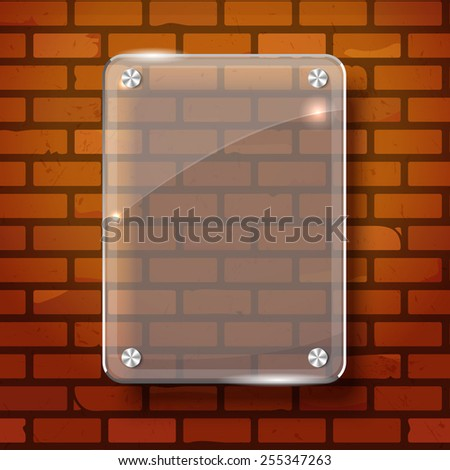 Glass plate on brick background for your advertising and design - stock vector