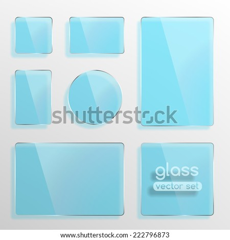 Glass plates set, square, rectangle and round in blue color. Photo realistic vector illustration - stock vector