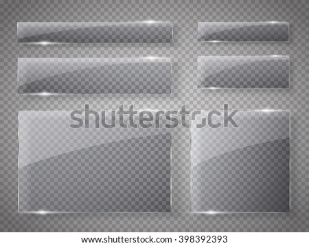 Glass plates set. Vector glass banners on transparent background. - stock vector