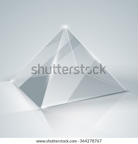 Glass pyramid. Transparent pyramid. Isolated. Template glass. Exhibition. Presentation of a new product. Realistic 3D design. Vector illustration - stock vector