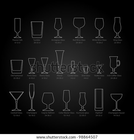 Glass set - stock vector