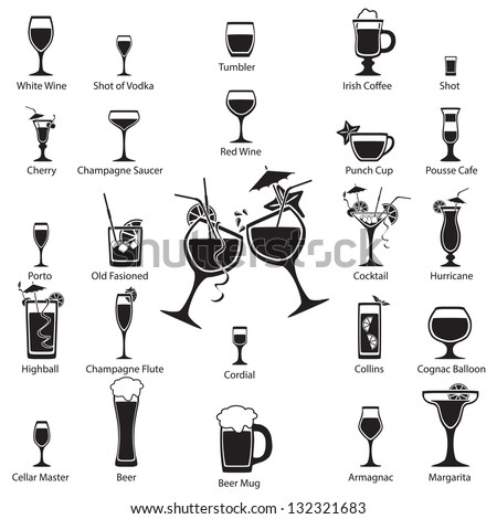 Glass set. Vector illustration. - stock vector