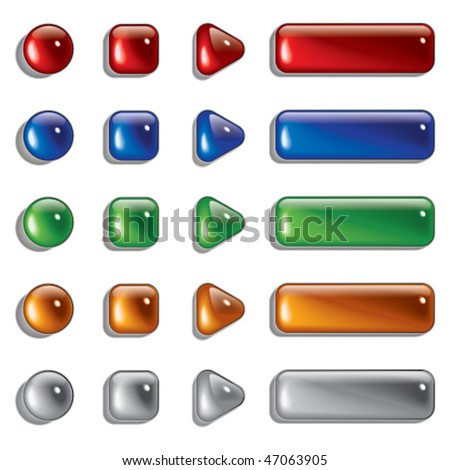 Glass Shapes, button - stock vector