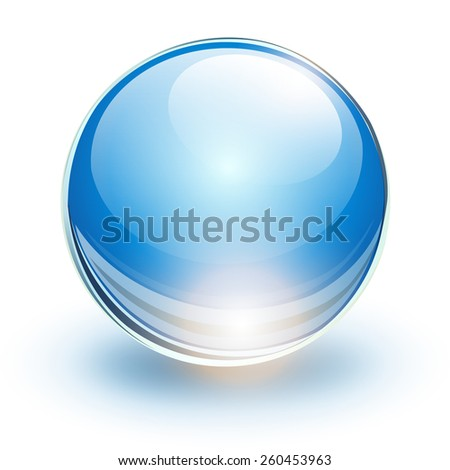Glass sphere, blue vector ball.  - stock vector