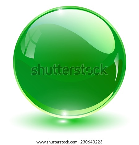 Glass sphere, green vector ball.  - stock vector