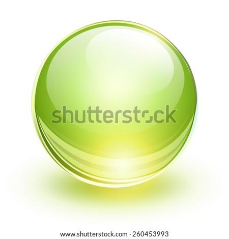 Glass sphere, green vector ball.  - stock vector