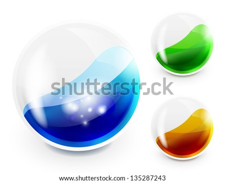 Glass sphere with color liquid inside. Vector icon - stock vector