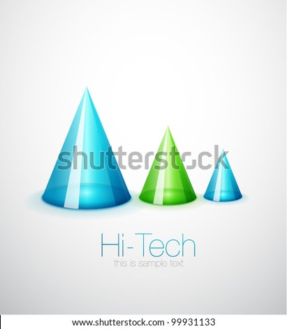 Glass translucent cone group technology background - stock vector