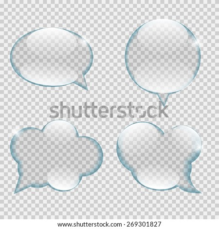 Glass Transparency Speech Bubble Vector Illustration EPS10 - stock vector