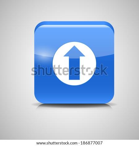 Glass Upload Button Icon Vector Illustration - stock vector