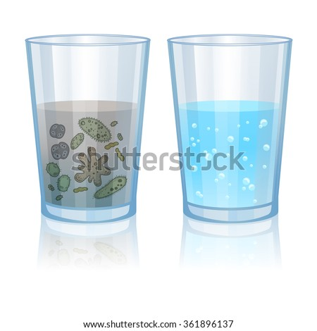 Glass with clean and dirty water, infection illustration. Vector illustration - stock vector