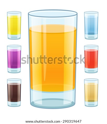 Glass with fresh fruity juice. Eps10 vector illustration. Isolated on white background - stock vector