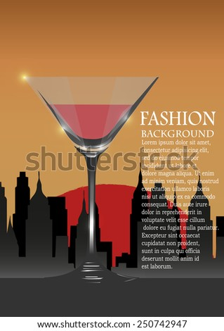 Glass with red wine, a city silhouette at a background - stock vector