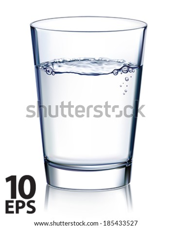 Glass with water isolated. Vector illustration - stock vector