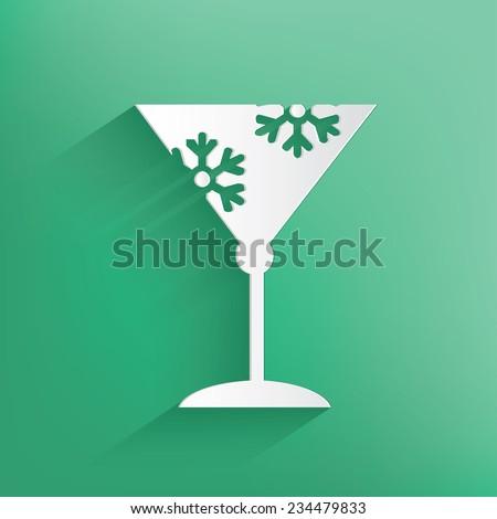 Glass,Xmas Design,Happy New Year,Clean vector - stock vector