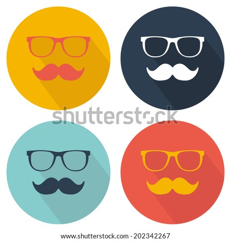 Glasses and mustache icon. Flat design with long shadow. Vector illustration - stock vector