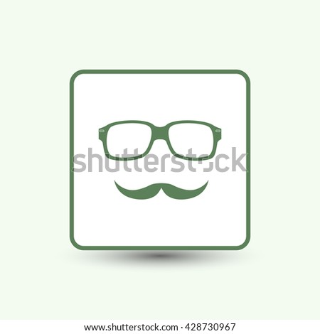 glasses and mustaches vector icon. - stock vector
