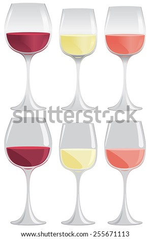 Glasses of red, white and pink wine in gradient or flat colors.  - stock vector