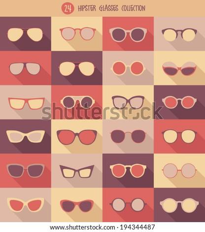 glasses set, hipster glasses, vector illustration - stock vector