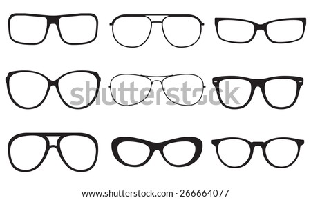 Glasses set. Sunglasses silhouettes isolated on white background. Vector illustration. - stock vector