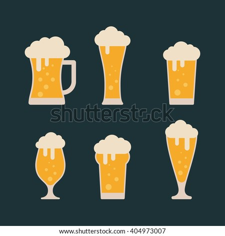 Glasses with beer isolated on background. Beer vector set. Beer flat icons. Light beer. Lager beer. Colorful beer icon. Beer logo. Foamy beer. Beer icon in vintage style. Alcohol beer - stock vector