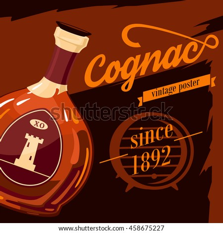 Glassware bottle of cognac or armagnac vintage or retro, old style poster with fortification tower on sticker. Alcohol beverage or booze advertising. Can be used for bar or restaurant theme - stock vector