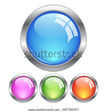 Glassy buttons, eps10 vector illustration - stock vector