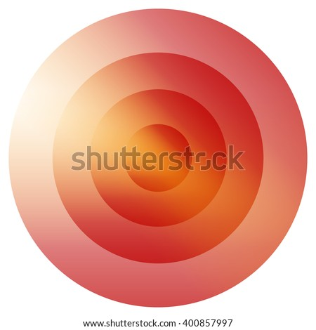 Glassy colorful radiating, concentric circles element. Glowing bright colorful icon, shape on white - Yellow, orange, red colored - stock vector