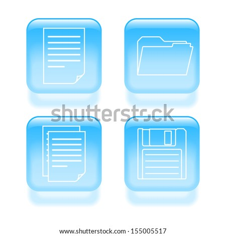Glassy file icons. Vector illustration. - stock vector