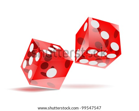 glassy rolling red dice with white dots, isolated on white, EPS10 vector - stock vector