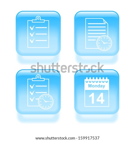 Glassy schedule icons. Vector illustration. - stock vector