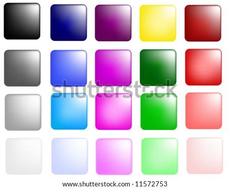glassy square button color collection - stock vector