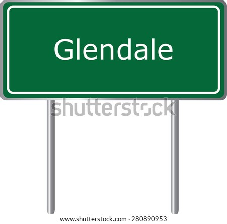 Glendale , California, road sign green vector illustration, road table, USA city - stock vector