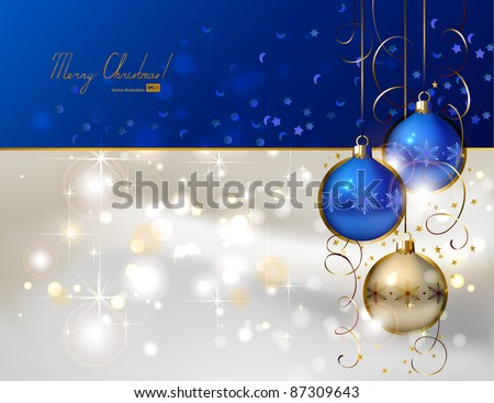 glimmered Christmas background with three evening balls - stock vector