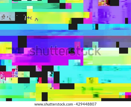 Glitch background in the rave aesthetic. Random digital signal error. Abstract contemporary print made of colorful pixel mosaic. Element of design for a trendy poster, cover, invitation or postcard. - stock vector