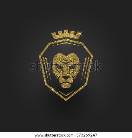 Glitter gold lion logo - vector illustration - stock vector
