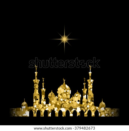 Glitter gold Silhouette of mosque with minarets and star. Concept for Islamic Muslim holidays Mawlid birthday prophet Muhammad, holy month Ramadan Kareem, Eid Mubarak, Fatima bint Muhammad, Newroz - stock vector
