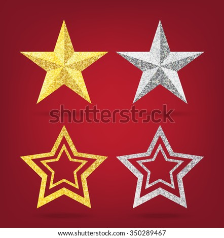 Glitter golden and siverChristmas Star  on red background - stock vector