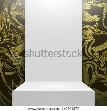 Glitter marbled glitter texture. Gold background. Glitter background. Stage podium. Empty white podium Isolated. Glitter marble background. Vector golden glitter background. Design studio. Interior. - stock vector