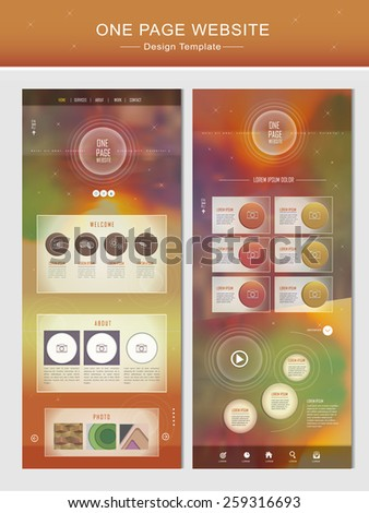 glitter one page website design template in orange and green - stock vector