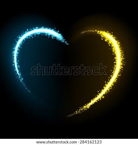 Glittering star dust heart illustration - stock vector