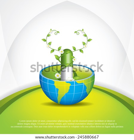 Global alternative medication.Herbal pill vector - stock vector