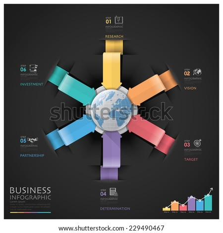 Global Business And Financial Infographic With Arrow Round Circle Diagram - stock vector