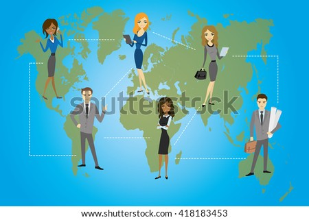 Global Business. Business concept, flat design, vector illustration - stock vector