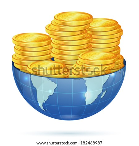 Global Business Concept - Earth with Gold Coins, vector isolated on white background - stock vector